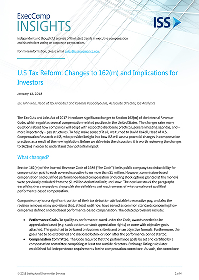 U.S Tax Reform: Changes to 162(m) and Implications for Investors