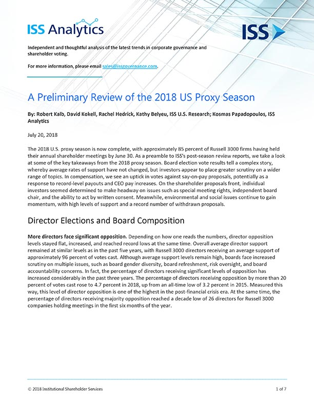 A Preliminary Review of the 2018 US Proxy Season
