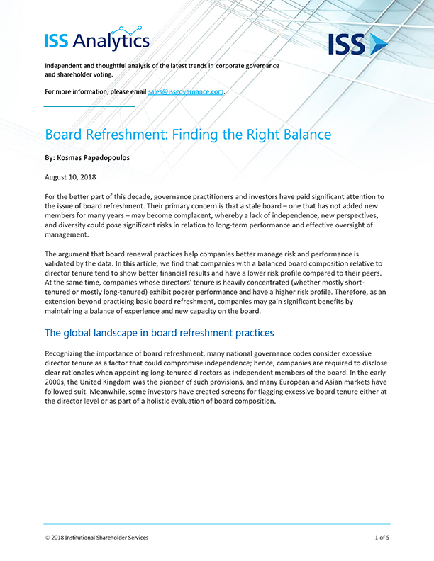 Board Refreshment: Finding the Right Balance