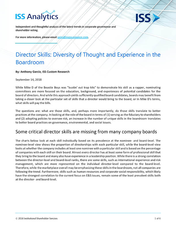 Director Skills: Diversity of Thought and Experience in the Boardroom