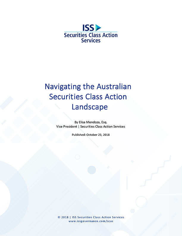 Navigating the Australian Securities Class Action Landscape