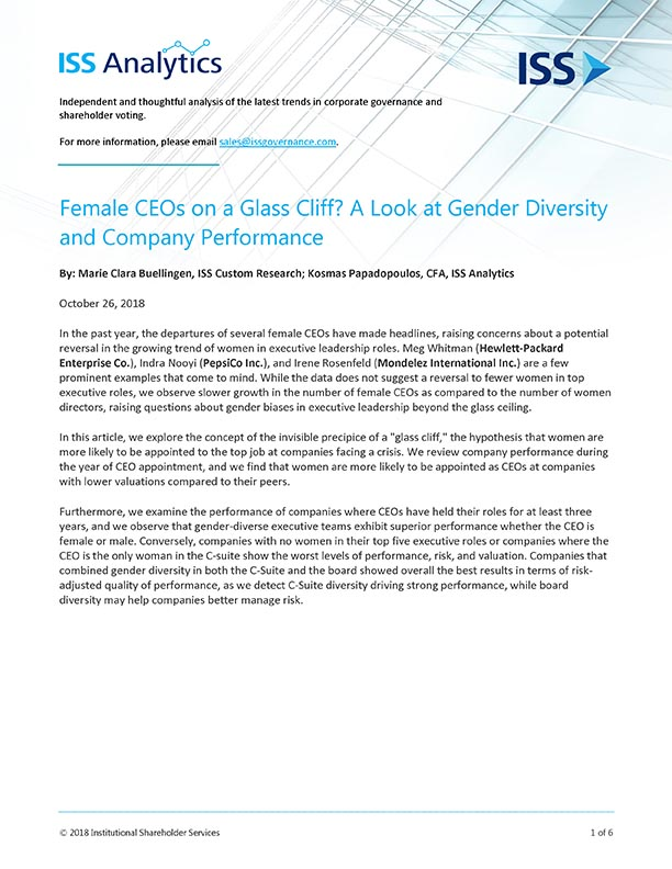 Female CEOs on a Glass Cliff? A Look at Gender Diversity and Company Performance
