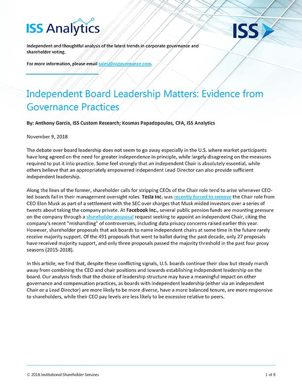 Independent Board Leadership Matters: Evidence from Governance Practices