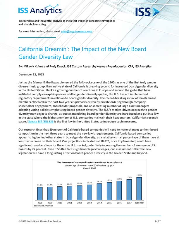 California Dreamin': The Impact of the New Board Gender Diversity Law