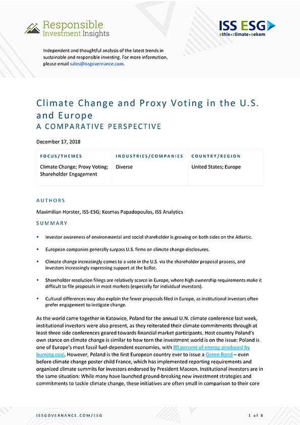 Climate Change and Proxy Voting in the U.S. and Europe