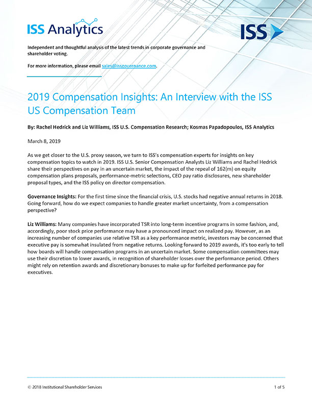 2019 Compensation Insights: An Interview with the ISS U.S. Compensation Team