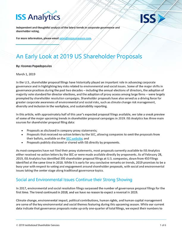 An Early Look at 2019 US Shareholder Proposals