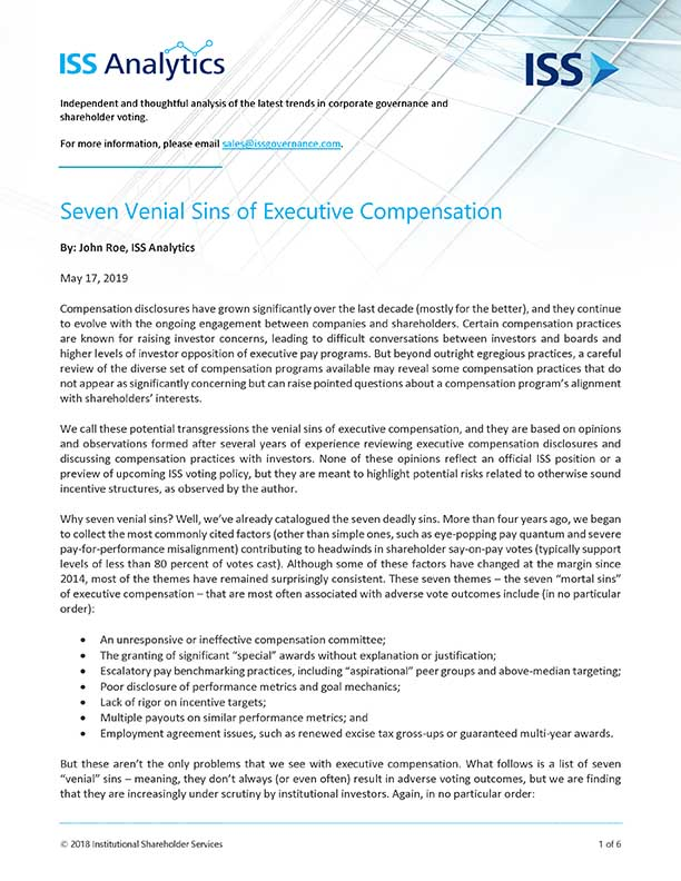 Seven Venial Sins of Executive Compensation