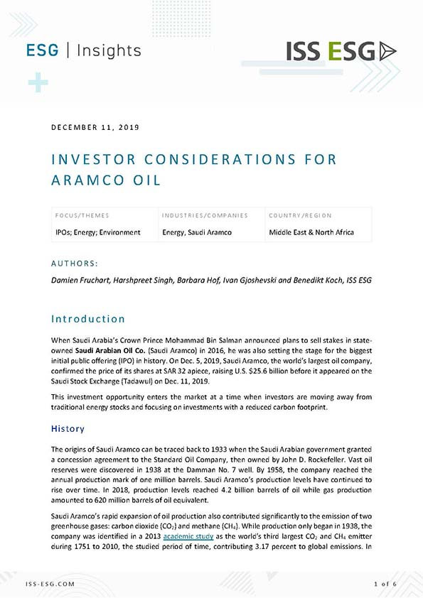 Investor Considerations for Aramco Oil