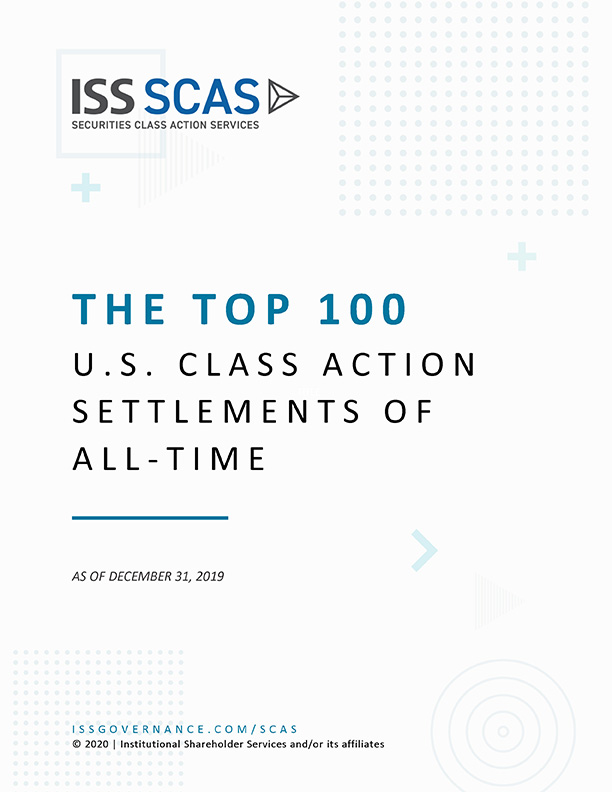 The Top 100 U.S. Class Action Settlements of All Time as of December 2019