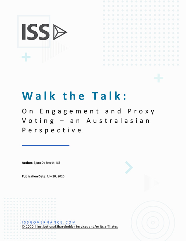 Walk the Talk: on Engagement and Proxy Voting – An Australasian Perspective