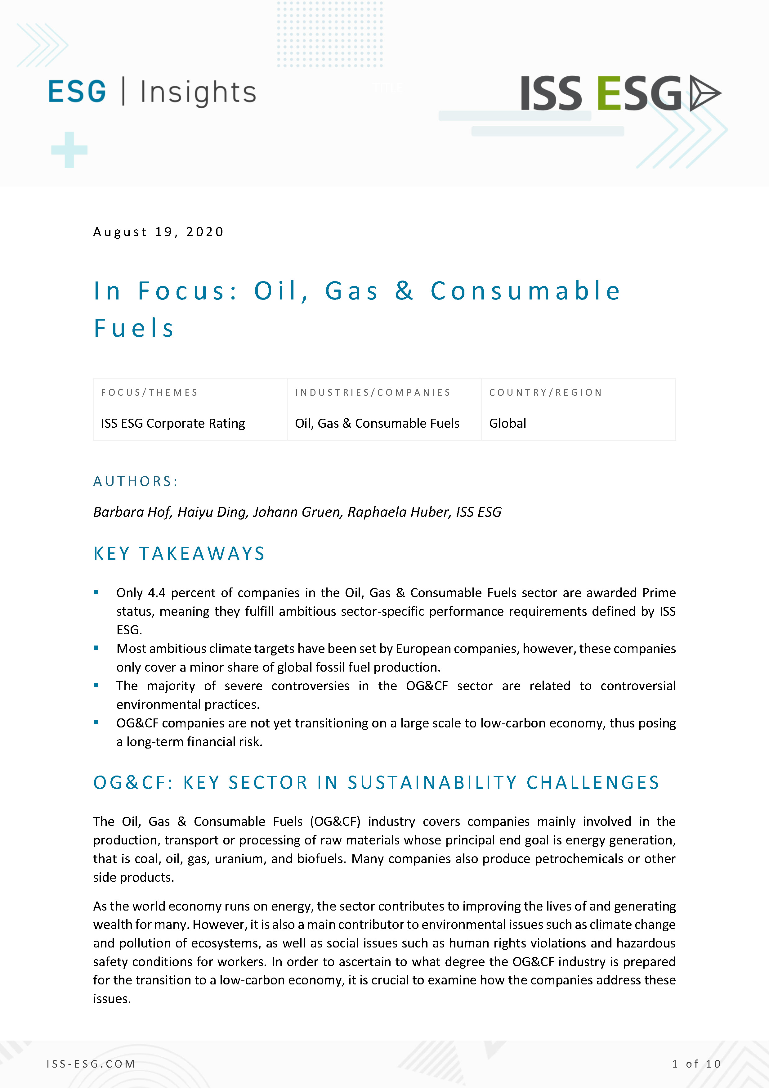 In Focus: Oil, Gas & Consumable Fuels