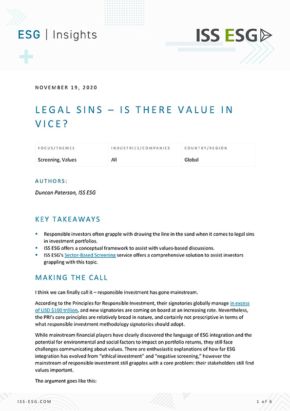 Legal Sins – Is There Value in Vice?