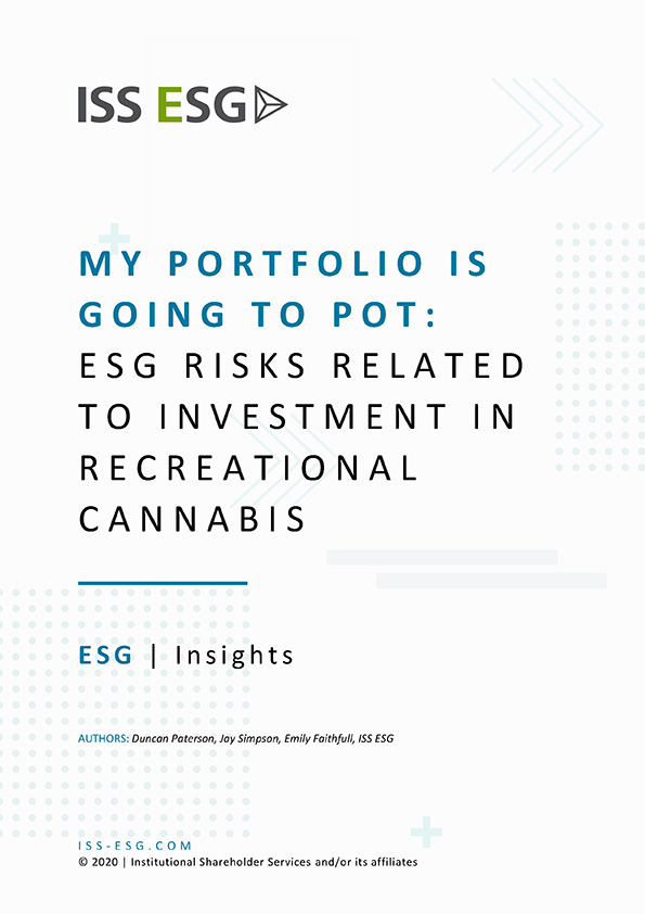 My Portfolio Is Going to Pot: ESG Risks Related to Investment in Recreational Cannabis