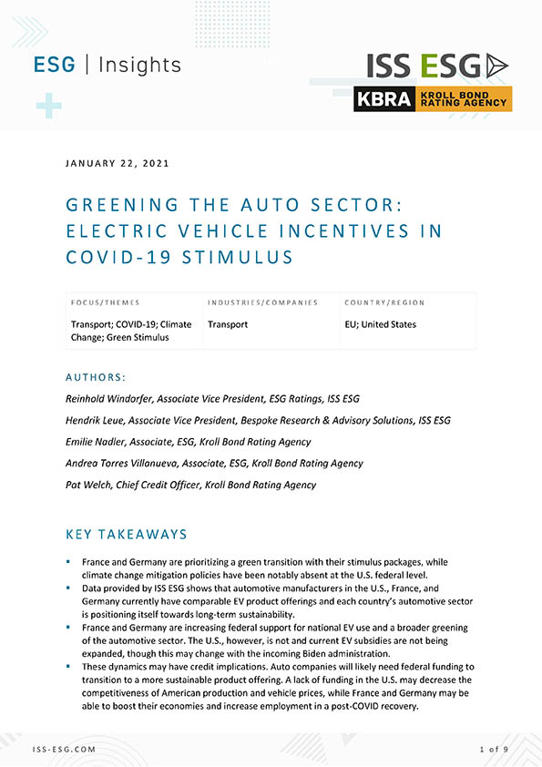 Greening The Auto Sector: Electric Vehicle Incentives in COVID-19 Stimulus