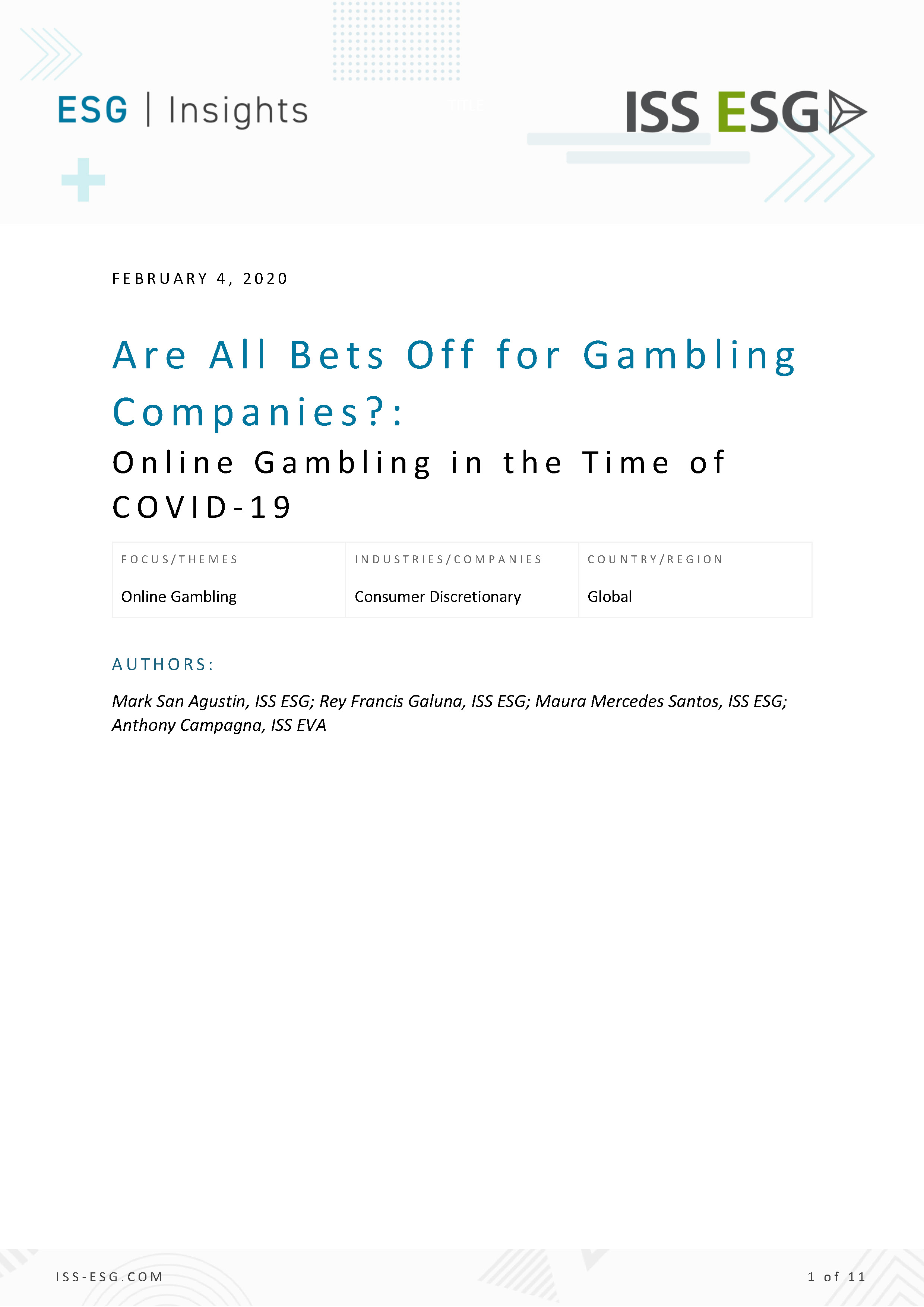 Are All Bets Off for Gambling Companies?: Online Gambling in the Time of COVID-19