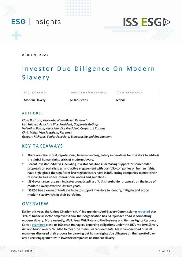 Investor Due Diligence On Modern Slavery