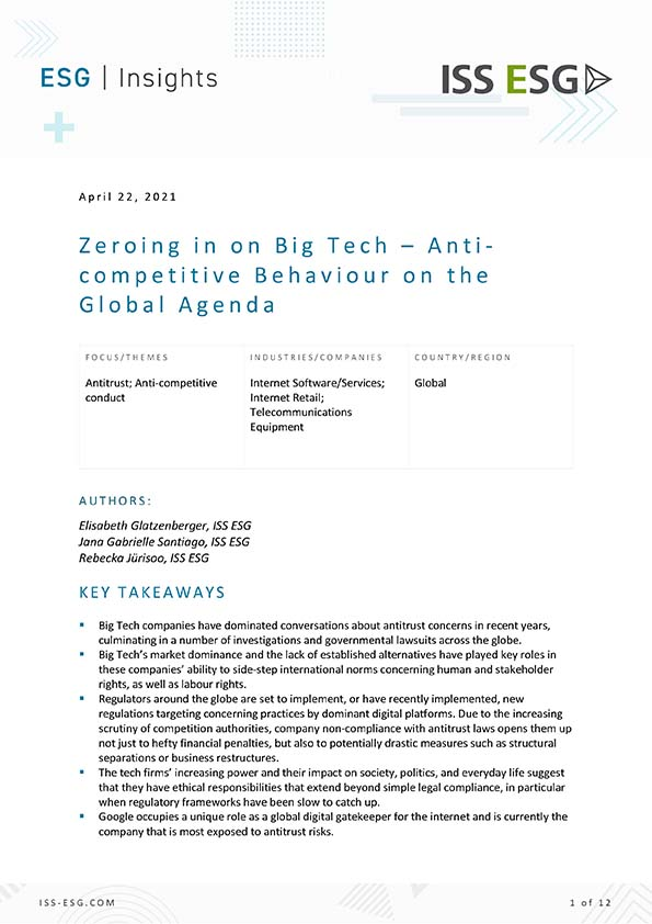 Zeroing in on Big Tech – Anti-competitive Behaviour on the Global Agenda